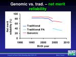 genomic vs trad net merit reliability