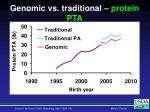 genomic vs traditional protein pta