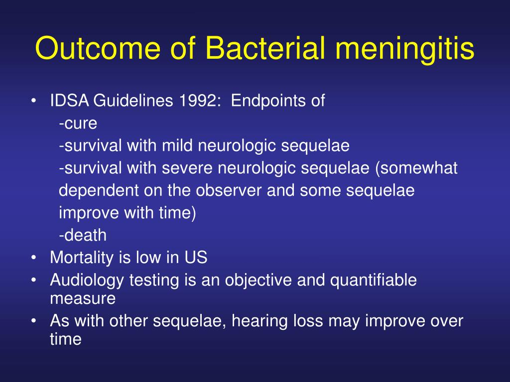 Outcome of Bacterial meningitis
