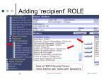 adding recipient role