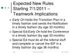 expected new rules starting 7 1 2011 teamwork implications