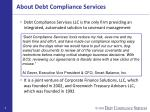about debt compliance services