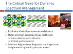 the critical need for dynamic spectrum management