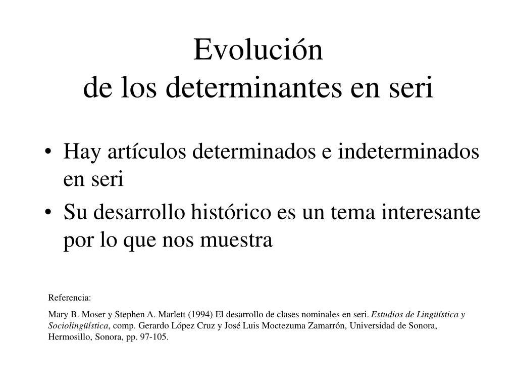 evoluci n de los determinantes en seri l.