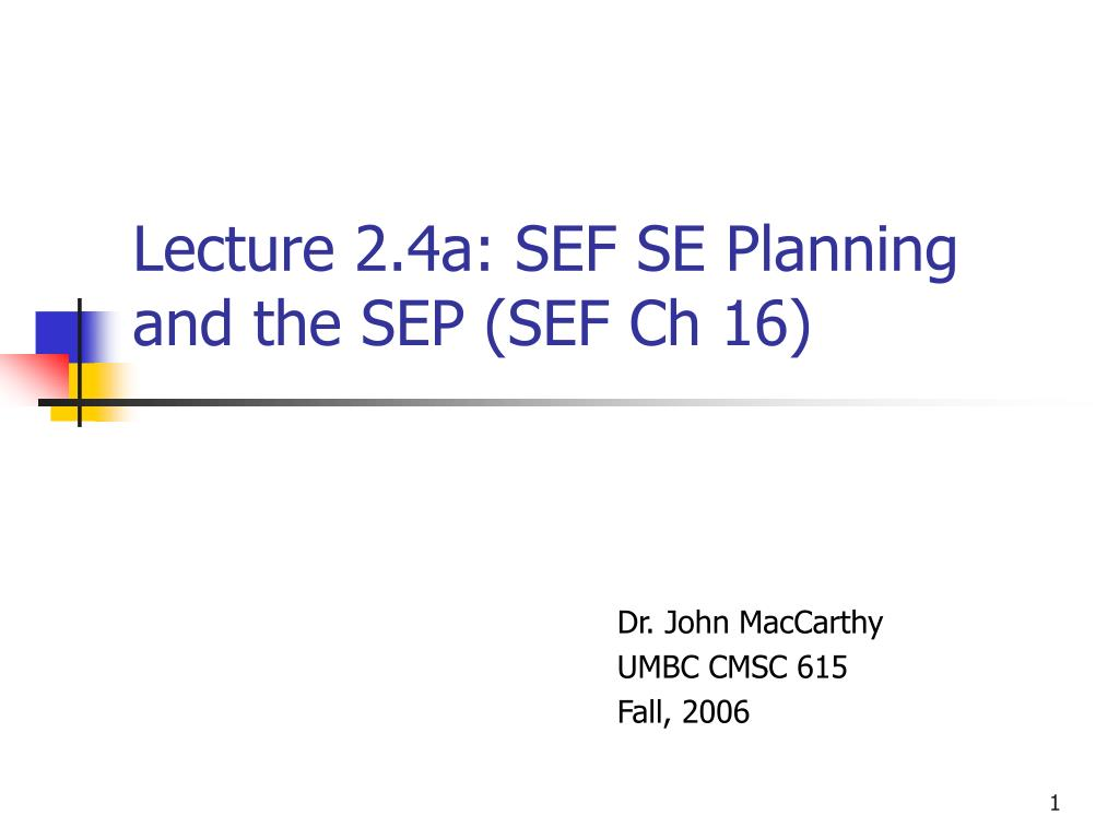 lecture 2 4a sef se planning and the sep sef ch 16 l.