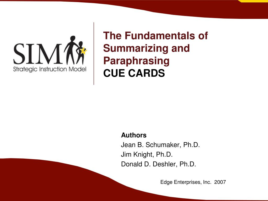 the fundamentals of summarizing and paraphrasing cue cards l.