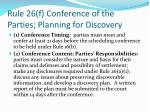 rule 26 f conference of the parties planning for discovery