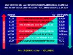 espectro de la hipertension arterial clinica relacion vasoconstriccion volumen segun j laragh