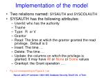 implementation of the model
