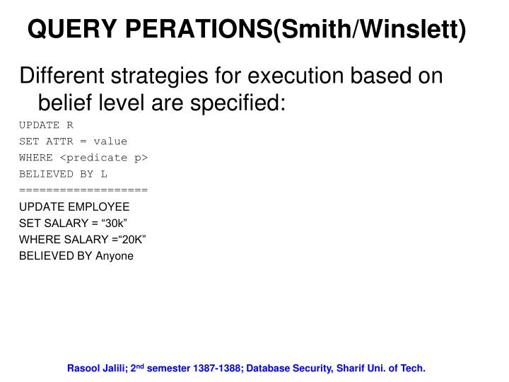 QUERY PERATIONS(Smith/Winslett)
