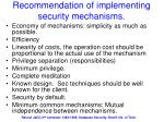 recommendation of implementing security mechanisms