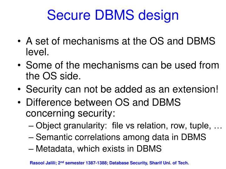 Secure DBMS design