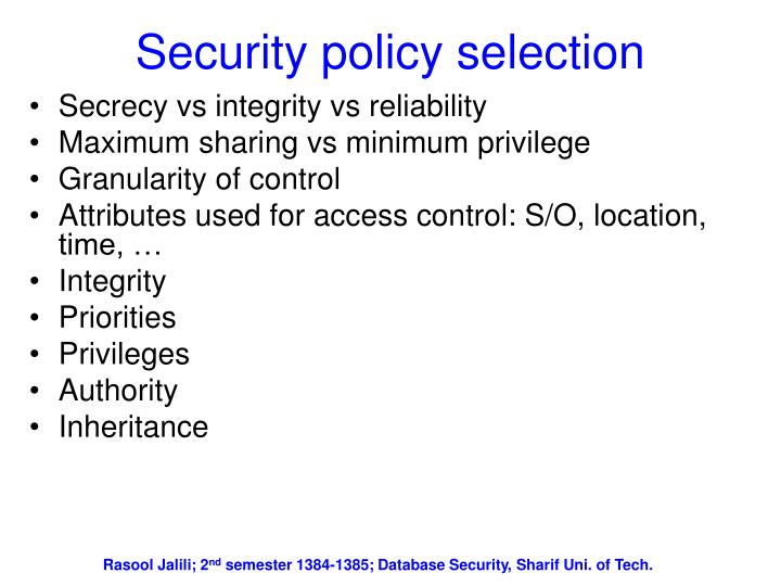 Security policy selection