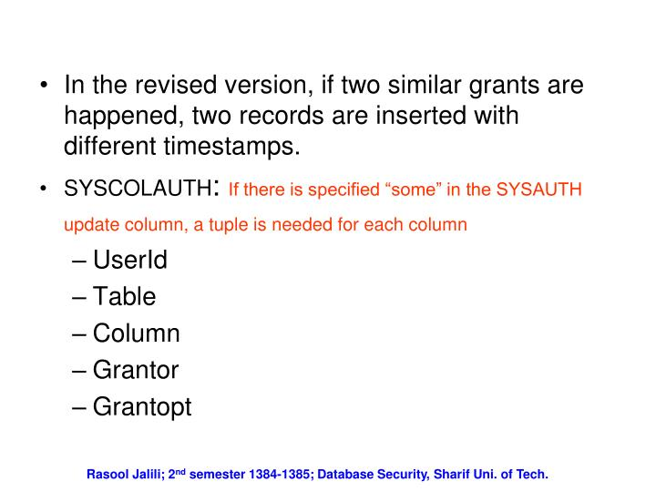 In the revised version, if two similar grants are happened, two records are inserted with different timestamps.