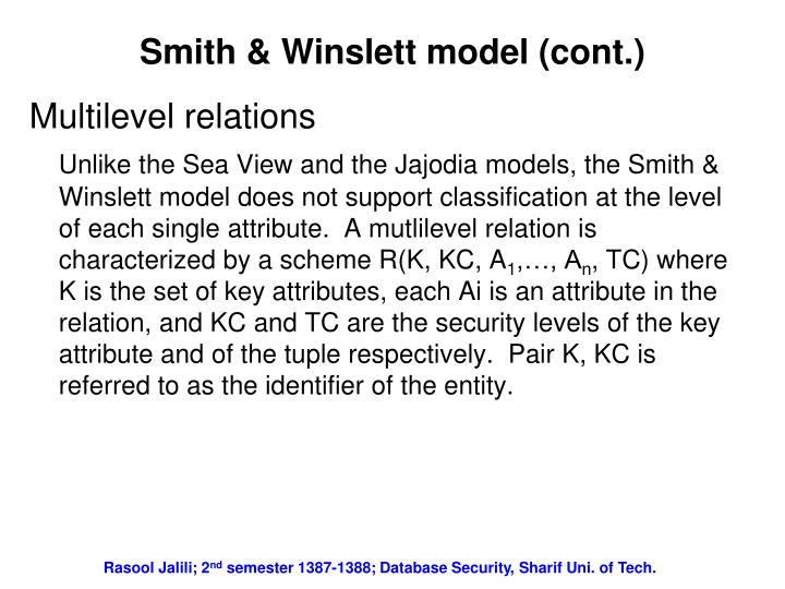 Smith & Winslett model (cont.)