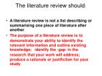 the literature review should