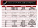 nivel de actuaci n de los oncogenes