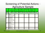 screening of potential actions agriculture sample