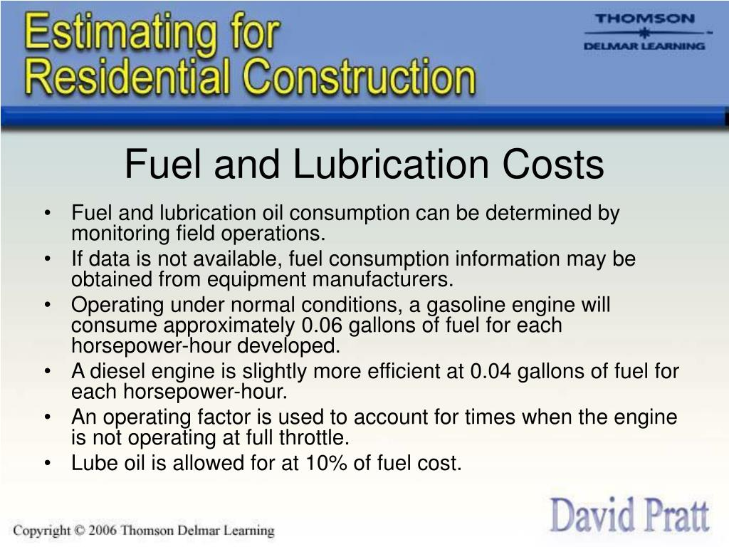 Fuel and Lubrication Costs