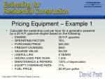 pricing equipment example 1