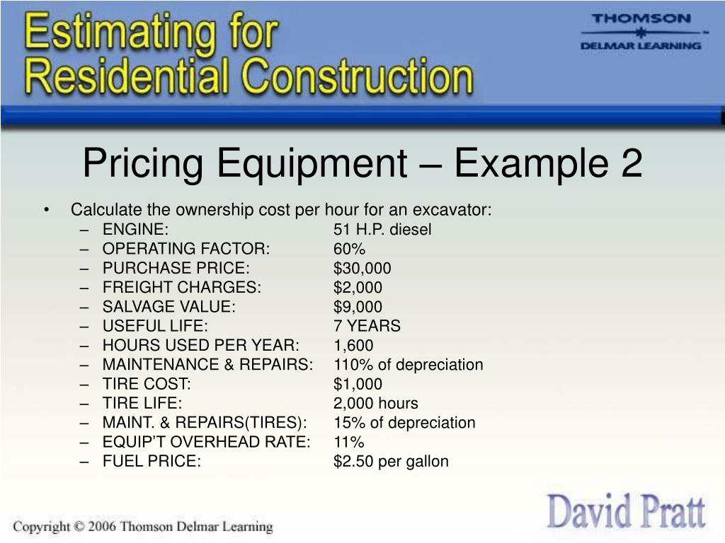 Pricing Equipment – Example 2