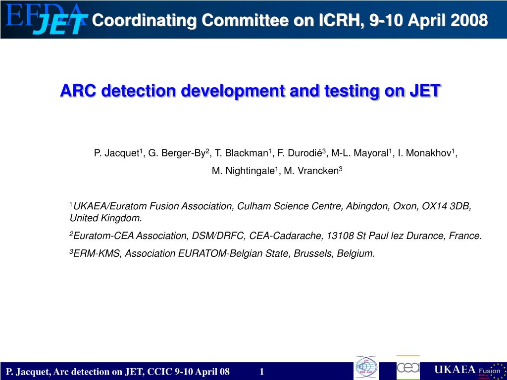 arc detection development and testing on jet l.