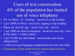users of text conversation 6 of the population has limited use of voice telephony