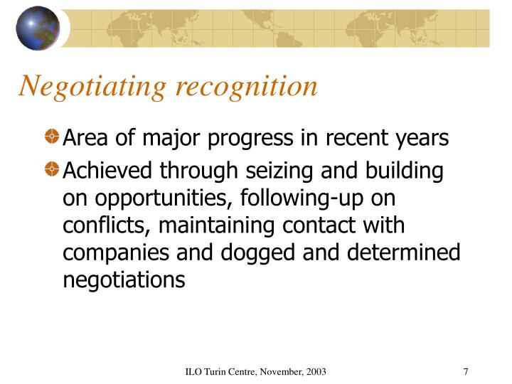 Negotiating recognition