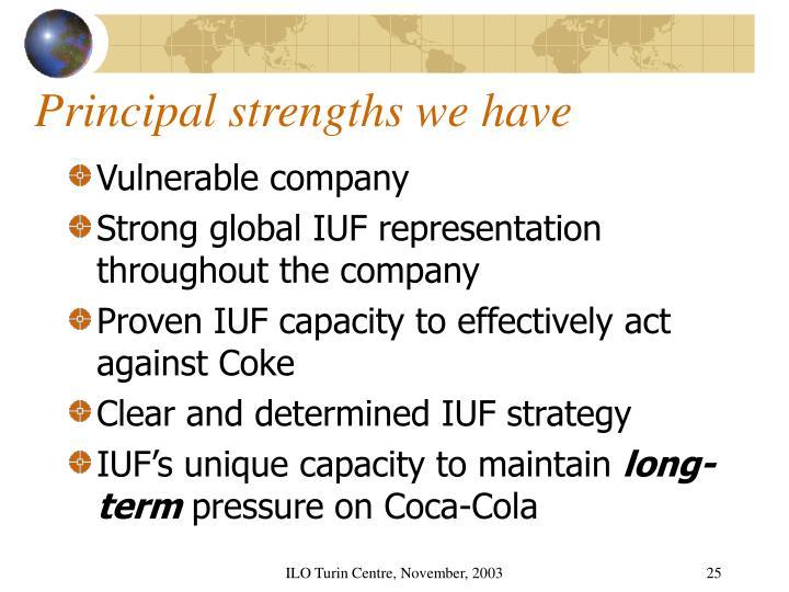 Principal strengths we have