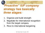 proactive iuf company strategy has basically three stages