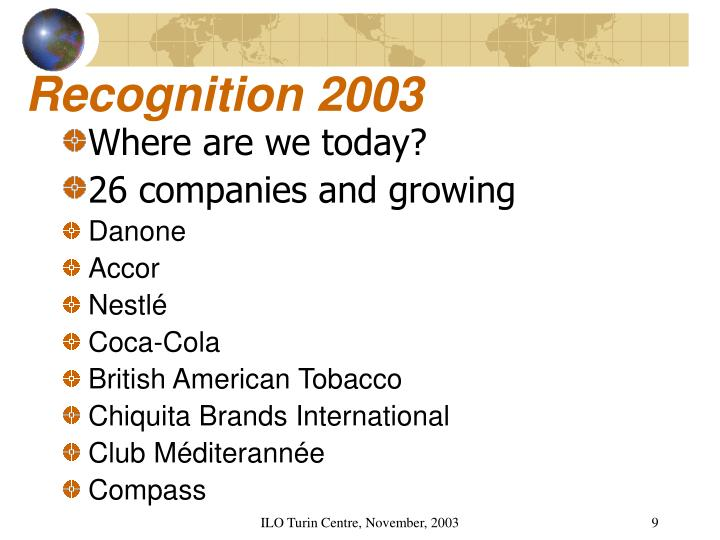 Recognition 2003
