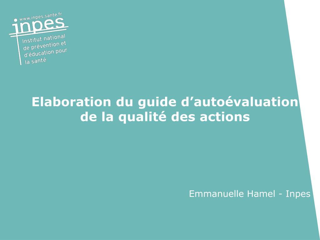 elaboration du guide d auto valuation de la qualit des actions l.