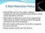 e mail retention policy