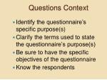 questions context