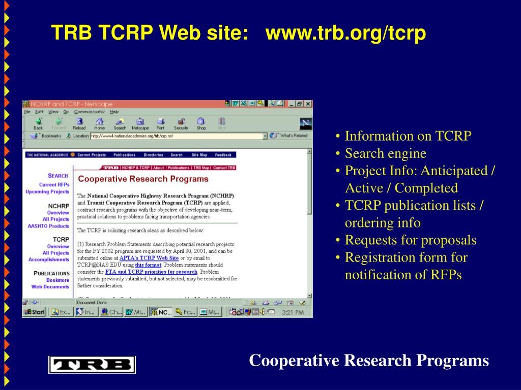 TRB TCRP Web site:   www.trb.org/tcrp