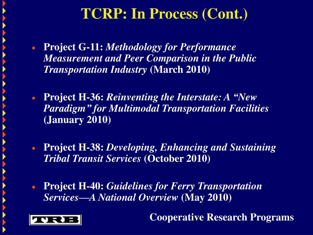 TCRP: In Process (Cont.)