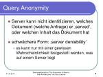 query anonymity