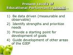 present levels of educational performance should