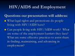 hiv aids and employment