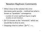 newton raphson comments