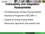 vulnerability and adaptation assessments