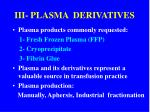 iii plasma derivatives