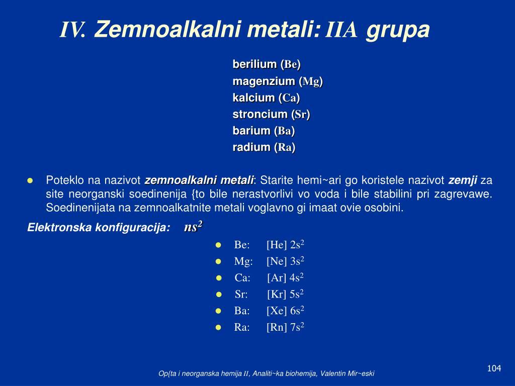 iv zemnoalkalni metali iia grupa l.