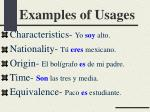 examples of usages