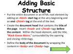 adding basic structure