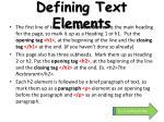 defining text elements