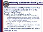 disability evaluation system des