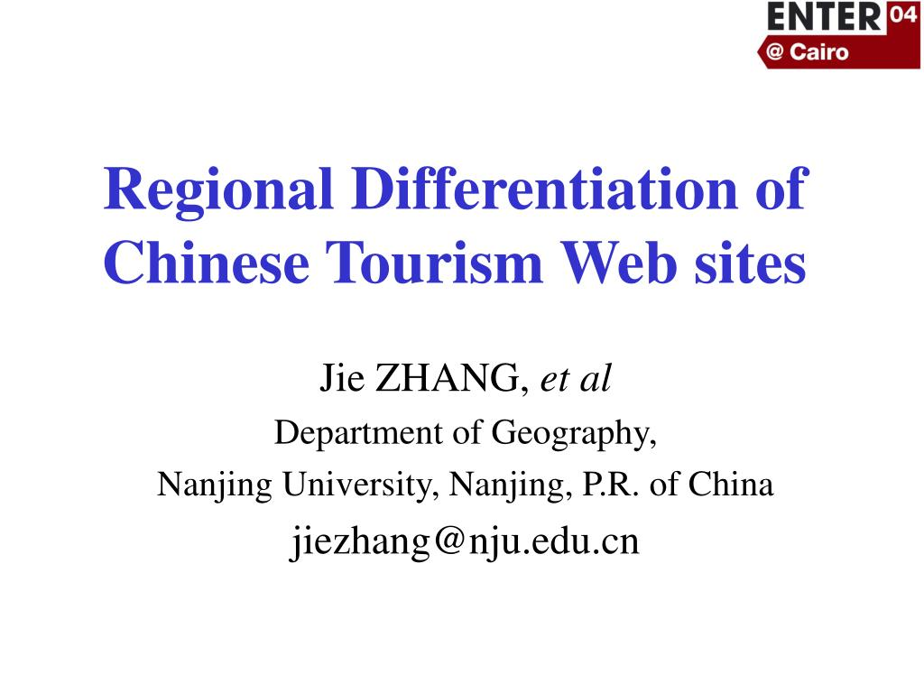 regional differentiation of chinese tourism web sites l.