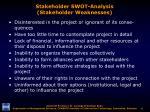 stakeholder swot analysis stakeholder weaknesses