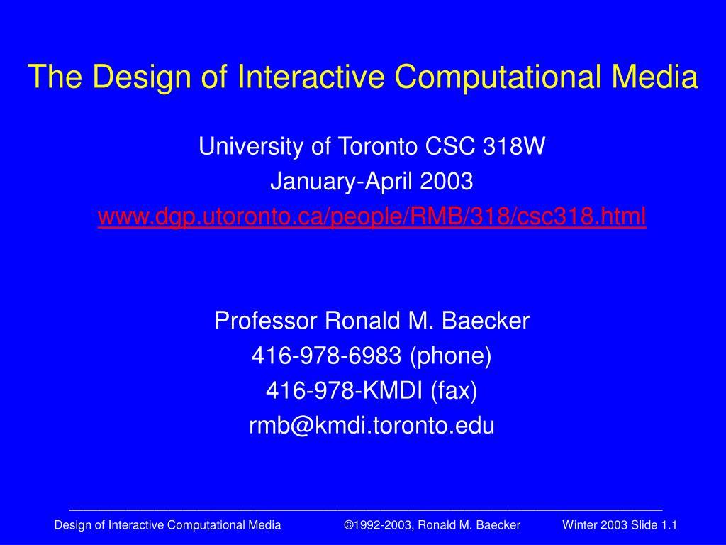 the design of interactive computational media l.
